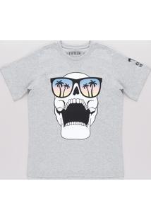 "Camiseta Infantil Caveira ""Cool Vibes"" Manga Curta Cinza Mescla"