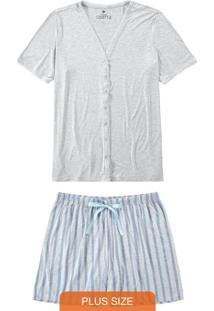 Pijama Mescla Plus Size Listrado Com Cetim