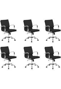 Conjunto Com 6 Cadeiras De Escritório Diretor Giratórias Eames Comfort Preto