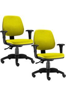 Kit Cadeiras Giratória Lyam Decor Job Amarelo - Tricae