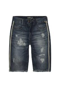 Bermuda Masculina Faixa Lateral Slim Jeans Dest+Used