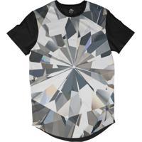 15036d548d Camiseta Bsc Longline Diamante Brilhante Sublimada Preta Branca