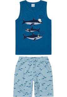 Conjunto Azul Tubarões Moletom