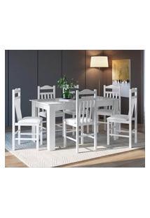 Conjunto Mesa Fixa Com 6 Cadeiras Branco Lilies Móveis