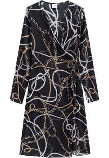 Vestido Lecimar Em Viscose Rayon Outono Inverno Manga Longa Preto - Tricae