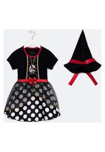 Vestido Infantil Estampa Minnie Fantasia Halloween - Tam 1 A 6 Anos | Minnie Mouse | Preto | 02