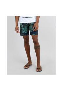 Bermuda Surf Masculina Estampada De Folhagem Com Bolso Azul Marinho