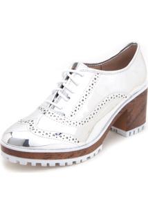 Ankle Boot Flatform Moleca Metalizada Brogue Prata