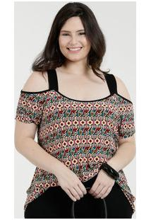 dd47229e7 Blusa Feminina Open Shoulder Estampada Plus Size Luktal
