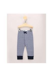 Calça Infantil Básica Listrada Com Cordão Azul Marinho