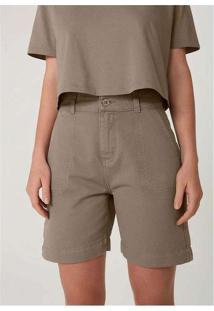 Shorts Feminino Em Sarja Alfaiatado Marrom