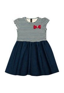 Vestido Infantil - Manga Curta - Listra Com Lacinho - Algodão E Elastano - Marinho - Duduka