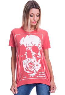 Camiseta Jazz Brasil Caveira Flower Vermelha - Kanui
