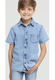 Camisa Infantil Jeans Manga Curta Mr