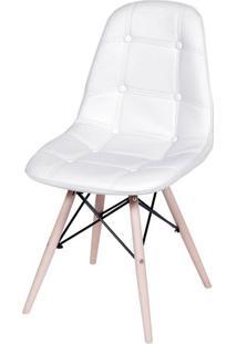 Cadeira Eames Botone Branca Base Madeira - 32073 - Sun House