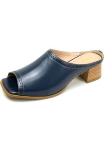 Tamanco Retrã´ Peep Toe Touro Boots Feminino Marinho - Azul/Azul Marinho - Feminino - Dafiti