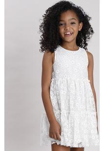 Vestido Infantil Em Tule Estampado Floral Com Glitter Sem Manga Off White