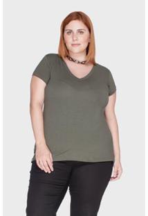 Camiseta Bold Decote V Plus Size 52/54 Feminina - Feminino-Verde