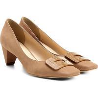5377d24024 Scarpin Couro Shoestock Salto Baixo Bico Quadrado Fivela Forrada - Feminino -Bege