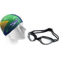 ae0029491d Kit Natação Speedo Com Óculos Hydrovision Preto Cristal + Touca Eu Amo O  Brasil Verde