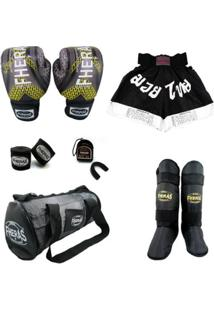 Kit Top - Luva Bandagem Bucal Caneleira Shorts Bolsa - Unissex