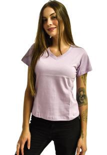 Camiseta Nakia Gola V Básica Feminina Lisa Malha Manga Curta Roxa Claro Lilás