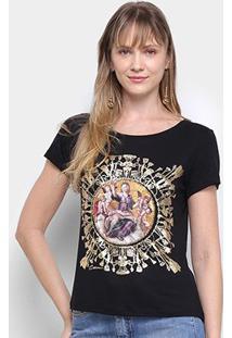 Camiseta T-Shirt Carmim Estampa Anjos Manga Curta Feminina - Feminino