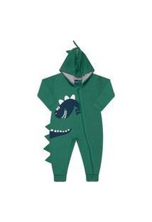 Pijama Macacáo Moletom Arte Silk Dino Verde Vrasalon P Verde