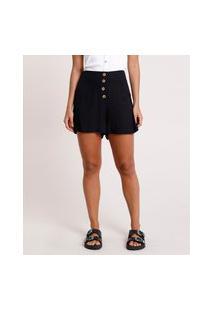 Short Feminino Cintura Alta Com Botões Preto