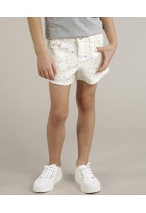 Short De Sarja Infantil Estampado Barra Desfiada Off White