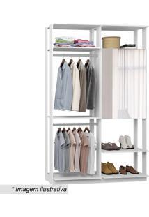 Guarda Roupa Clothes Com Espelho- Branco- 220X140X44Bentec