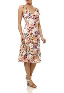 Vestido Médio Feminino Autentique Coral/Rosa/Branco