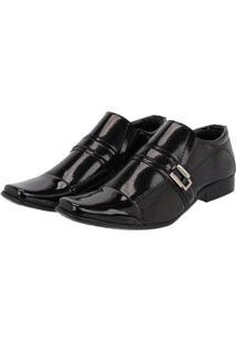 Sapato Social Masculino Leoppé Verniz Fivela - Masculino-Preto