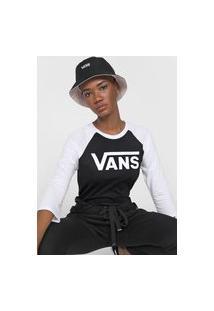 Camiseta Vans Raglan Wm Flying Preta/Branca