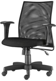Cadeira Liss Com Bracos Assento Courino Base Metalica Preta - 54656 Sun House