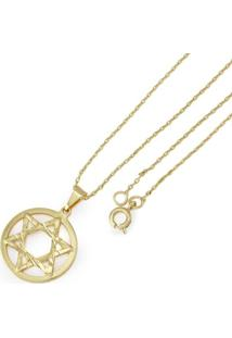 Gargantilha Tudo Joias Estrela De Davi Folheada A Ouro 18K - Feminino-Dourado