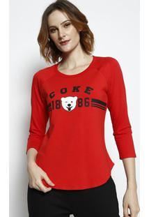 """Camiseta """"Cokeâ® 1886"""" Com Aroma- Vermelha & Branca- Coca-Cola"""