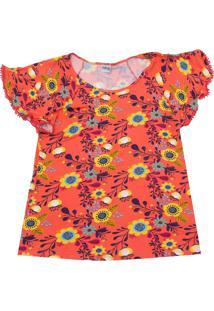 Camiseta Nanai Menina Floral Laranja