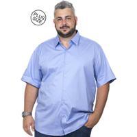 5168d775f Camisa Plus Size Bigshirts Manga Curta Elastano Azul