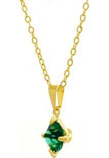 Gargantilha Horus Import Ponto Luz Verde Esmeralda Banhada Ouro 18 K 1061101