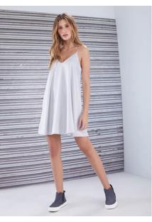 Vestido Slip Dress Satin Cinza