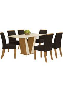 Sala De Jantar Mesa Retangular Garda 160Cm Com 6 Cadeiras Vita Nature/