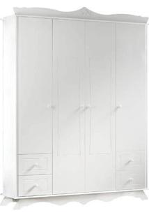 Roupeiro Infantil 2345 Mandeleine 4 Portas Branco Acetinado Multimóveis