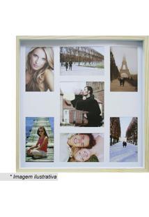 Painel Color Wood Para 7 Fotos- Bege Claro & Branco-Kapos