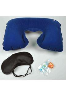 Kit Viagem Com Travesseiro Inflável Protetor De Ouvido E Máscara Lemat