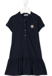 Moncler Kids Vestido Polo Com Patch Logo - Azul