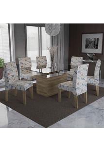 Mesa Jantar Com 6 Cadeiras Csj030No Veludo Pavia – Kappesberg - Bege Folhas Coloridas