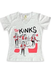 Camiseta Gola V Rock Cool Tees Caco Galhardo Banda The Kinks Feminina - Feminino-Mescla Claro