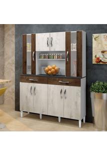 Armário De Cozinha 8 Portas 2 Gavetas Arte Móveis Nevada/Cacau