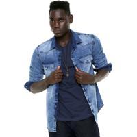 28891e83c8 Camisa Jeans Hering Slim Estonada Azul